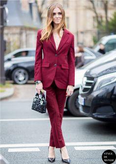 burgundy suit with heels