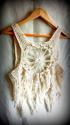 Crochet topboho crochet vest hippie lace by PoppyBlueCrochet