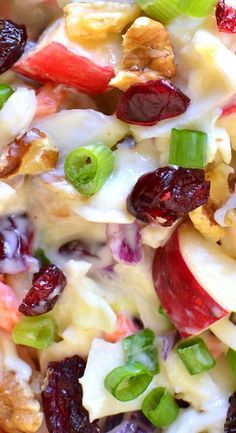 with Ginger Honey Dressing Cranberry Recipes, Fall Recipes, Holiday Recipes, Apple Recipes, Salad Bar, Soup And Salad, Cucumber Avocado Salad, Free Fruit, Veggie Pizza