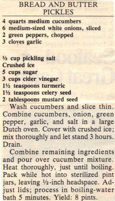 Vintage Recipe Clipping For Bread & Butter Pickles « RecipeCurio.com Retro Recipes, Old Recipes, Vintage Recipes, Cooking Recipes, Family Recipes, Bread N Butter Pickle Recipe, Bread & Butter Pickles, Homemade Pickles, Pickles Recipe