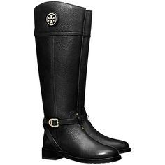 Pre-owned Tory Burch New Box Leather Tall Knee High Nib 6.5 Black... ($345) ❤ liked on Polyvore featuring shoes, boots, black, genuine leather boots, black leather boots, real leather boots, tory burch boots and equestrian tall boots