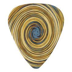#chic - #Yellow Blue White Black Swirl Abstract Pattern Guitar Pick