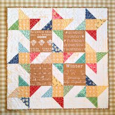 Mini Story Stars mini quilt featuring Lori Holt's Calico Days fabric collection #iloverileyblake