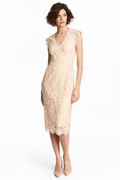 Кружевное платье - Светло-бежевый - Женщины   H&M RU 1
