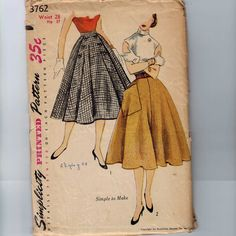 1950s Vintage Sewing Pattern Simplicity 3762 Misses Full Skirt Button Detail Waist 28 1951 50s on Etsy, $9.00