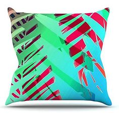 Alison Coxon Cool Tropical Blue Green Outdoor Throw Pillow 18x18in, New