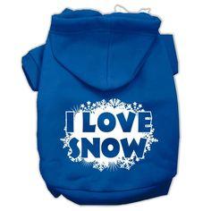 I Love Snow Screenprint Pet Hoodies Blue Size XL (16)