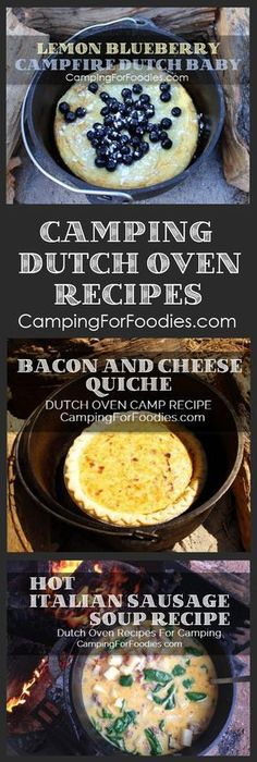 No camping trip is complete without great food! Cooking for two? Or a crowd? We've got outdoor camp meals that can be cooked in cast iron Dutch ovens using charcoal briquettes or tripods and grates over campfires. You'll love our fun and easy Dutch oven recipes for camping! We have Lemon Blueberry Topped Campfire Dutch Baby + Bacon And Cheese Quiche Dutch Oven Camping Recipe + Hot Italian Sausage Soup Dutch Oven Camping Recipe and more!