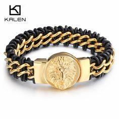 522eee3ebe3 Click to Buy    Kalen New Retro Leather Bracelets Fashion Stainless Steel  Brazil.
