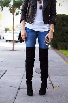19 cool ways to wear over the knee boots in the cold season