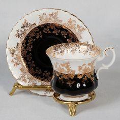"Royal Albert ""Regal Series"" Demitasse Cup Saucer White Black   eBay"