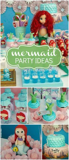 Love the fun cake and mermaid tail cupcakes at this party! See more party planning ideas at CatchMyParty.com!