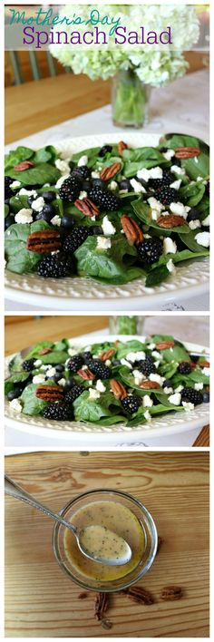 5 Spinach Recipes Mom's will LOVE - layered baby spinach, fresh blackberries, goat cheese and candied pecans make this a salad Mom will LOVE!    CeceliasGoodStuff.com | Good Food for Good People