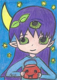 Original ACEO tw oct P4PMJFF anime manga monster drawing by 10 years old ArB  #Miniature by Athena Bencivenga, daughter of artist Jenny Luan.
