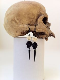Day Of The Dead Earrings Dia De Los Muertos Memento Mori Jewelry Gothic Horror Halloween Jewelry Black Skull Cream Rose by PoorSoulsCuriosities on Etsy https://www.etsy.com/listing/221565921/day-of-the-dead-earrings-dia-de-los