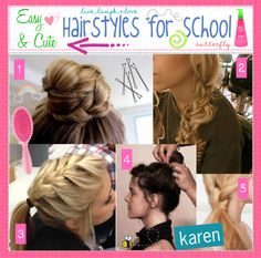 """Easy & Cute hairstyles for school"" by every-girl-has-a-tip ❤ liked on Polyvore"