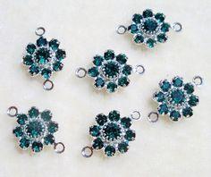 Swarovski Crystal Flower Dangles Jewelry Links size 6 pcs Emerald Green by Gstrands on Etsy Crystal Design, Swarovski Crystal Beads, Crystal Flower, Beaded Lace, Emerald Green, Dangles, Stud Earrings, Brooch, Flower Jewelry