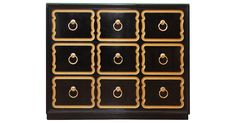 Fully restored Dorothy Draper España-style chest. Newly professionally lacquered in black with recessed gold detail and ring pull hardware. Drawers slide smoothly. No maker's mark.