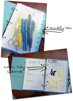 """DIY planner. love the """"today"""" bookmark."""