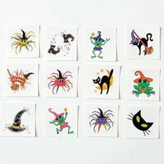 """GIRLY HALLOWEEN GLITTER TATTOOS (6 DOZEN) - BULK by FX. $9.99. Girly Glitter Halloween Tattoos. Assorted styles. Easy to apply and remove. Safe and non-toxic. 1 1/2"""""""