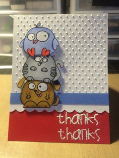 Thank you card using paper smooches many thanks and paper smooches chubby chums