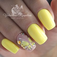 Spanish Nails Models and Photos Page 46 of 56 - Nail Designs & Manicure Bl. - Nail Design Ideas, Gallery of Best Nail Designs Stylish Nails, Trendy Nails, Summer Nails, Spring Nails, Butterfly Nail Art, Nail Swag, Yellow Nails, Fancy Nails, Gorgeous Nails