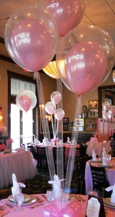 tulle instead of balloon strings. Silver sparkle tulle & pink, black & silver balloons