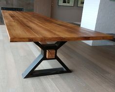 The Executive – Conference Table from Reclaimed Oak and Modern Industrial Metal Base - Metal Art Diy Dining Table, Slab Table, Dining Table Design, Trestle Table, Steel Furniture, Home Furniture, Furniture Design, Furniture Projects, Smart Furniture