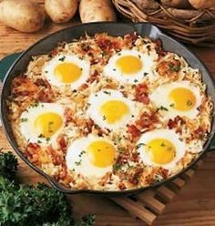 Recipe: Sheepherder's Breakfast Summary: My sister-in-law always made this delicious breakfast dish when we were camping, it's a sure hit with the breakfast crowd! Ingredients 3/4 pound bacon strips, finely chopped 1 medium onion, chopped 1 package (30 ou