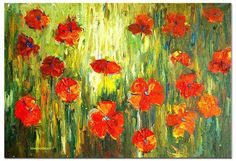 handpainted thick texture pallet knife  red flower by lovehomeart
