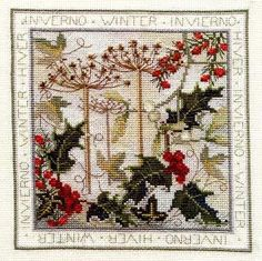 Gallery.ru / Фото #7 - Winter - cross stitched and has instructions and free pattern in English. LOVE this composition!