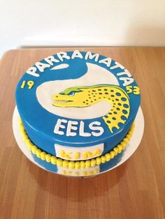 parramatta eels cake Birthday Parties, 5th Birthday, Birthday Cakes, Novelty Cakes, Cake Art, Cake Designs, 30th, 21st, Rugby League