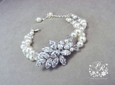Wedding Bracelet Swarovski Pearls Bridal by PureRainDesigns, $40.00