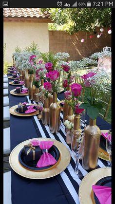 Home Decor Decoracion Floral Kate Spade Inspired Bridal Shower - Bridal Shower Ideas - Themes.Home Decor Decoracion Floral Kate Spade Inspired Bridal Shower - Bridal Shower Ideas - Themes Kate Spade Party, Kate Spade Bridal, Wine Bottle Centerpieces, Wedding Centerpieces, Wedding Table, Wine Bottles, Shower Centerpieces, Gold Bottles, Wedding Ceremony