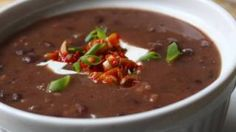Quick Black Bean Soup Recipe – Easy Bacon Black Bean Soup – All Recipes Food Cooking Network Easy Soup Recipes, Healthy Dinner Recipes, Healthy Snacks, Healthy Eating, Fruit Snacks, Bacon Recipes, Healthy Soup, Delicious Recipes, Cuban Black Bean Soup Recipe