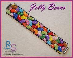 JELLY BEANS Peyote Cuff Bracelet Pattern