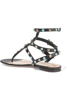 Valentino - Rockstud Leather Sandals - Black - IT36.5