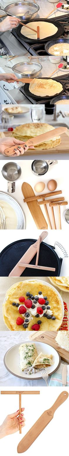 Crepe Making Kit 2-Piece Set (7-inch Crepe Spreader and 14-inch Spatula) Convenient Size to Fit Large Crepe Pan Maker   All Natural Beechwood Construction From Indigo True Company