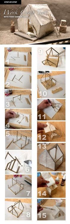 Wie man kleine Work Camp Zelte baut - Zelten How to build miniature work camp tents How to build min Miniature Crafts, Miniature Houses, Miniature Furniture, Doll Furniture, Work Camp, Mini Things, Miniture Things, Fairy Houses, Dollhouse Miniatures