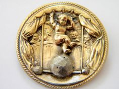 Antique Vintage Brass Metal Picture Button Cut Steel Large Child Circus Steels | eBay, $68.99