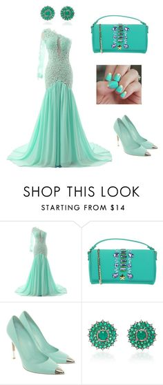 """""""Mint makeover"""" by ashleyhuang68 ❤ liked on Polyvore featuring La Fille Des Fleurs, Gianvito Rossi, Nam Cho and SoGloss"""