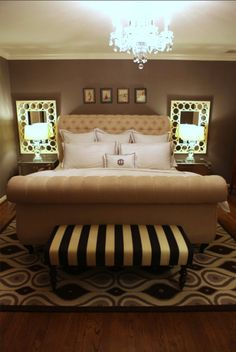 cozy & glam. Love the bench. I could switch up my bedding bc my walls are a twix chocolate