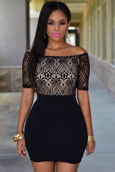 24d75a81b84 Black off shoulder lace lined front body con mini dress. Мини ПлатьяКороткие  ПлатьяSexy DressesТоржественная ВечеринкаПлатья ...