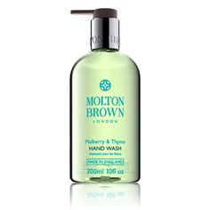 A luxurious hand wash blended with mulberry root extract and clary sage oil. The Fragrance Top note: Basil Middle note: Mimosa Base note: Thyme Extract: Mulberry Mulberry & Thyme Hand Wash by Molton Brown. Home & Gifts - Gifts - Scents & Bath Rhode Island Bath And Shower Products, Mint Oil, Patchouli Essential Oil, Molton Brown, Liquid Hand Soap, Body Cleanser, Even Skin Tone, Feet Care, Hand Washing
