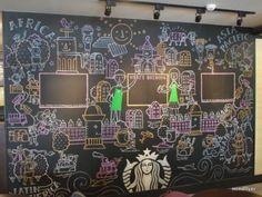 The chalk designs at Starbucks