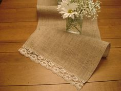 Burlap & Vintage Lace Table Runner Rustic meets romance