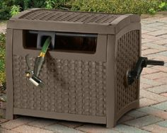 Wicker Hose Reel Storage Box Patio Deck Wind Up Easy Garden Bin Hidden Durable #Suncast