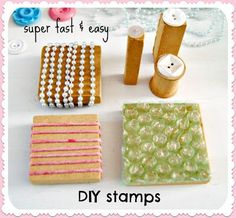 littlecraziness:    (via Everyday is a Holiday: fast & easy DIY stamps: perfect for your art journal!)    Truebluemeandyou: For more homemade stamps using unconventionalmaterials and art journal ideas go here:truebluemeandyou.tumblr.com/tagged/journal
