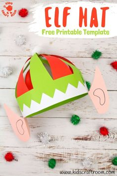 This cheeky, colourful elf hat craft with ears is really easy to make with the FREE printable pattern. Print it and colour or trace around it onto coloured paper. Fun Christmas hats for kids and grown ups! Christmas Activities, Christmas Crafts For Kids, Holiday Crafts, Craft Activities, Paper Crafts For Kids, Easy Crafts For Kids, Diy Paper, Elf Hut, Christmas Party Hats