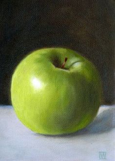 Green Apple, oil painting by Wendy Prather Burwell Apple Painting, Fruit Painting, Oil Painting On Canvas, Oil Paintings, Still Life Drawing, Painting Still Life, Apple Art, Still Life Fruit, Fruit Art